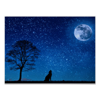 Mesmerizing Wolf Howling on the Moon Poster
