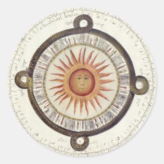 Mesoamerican Calendar Classic Round Sticker
