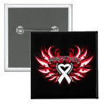 Mesothelioma Awareness Heart Wings.png Pinback Button