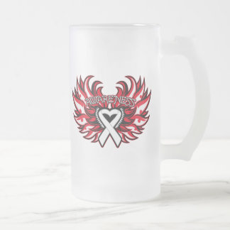 Mesothelioma Awareness Heart Wings.png Frosted Glass Mug