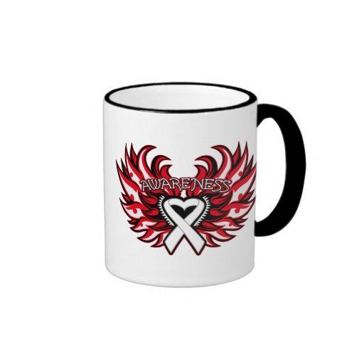 Mesothelioma Awareness Heart Wings.png Coffee Mugs