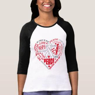 Mesothelioma Awareness Heart Words T-shirt