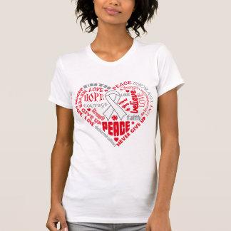 Mesothelioma Awareness Heart Words Tee Shirts