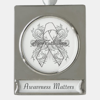 Mesothelioma Cancer Flourish Hope Faith Cure Silver Plated Banner Ornament