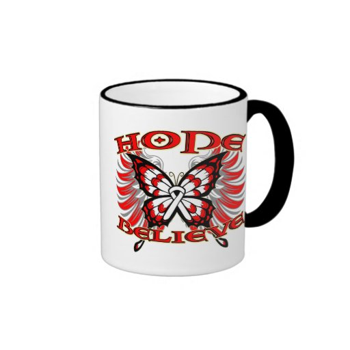 Mesothelioma Cancer Hope Believe Butterfly Coffee Mugs