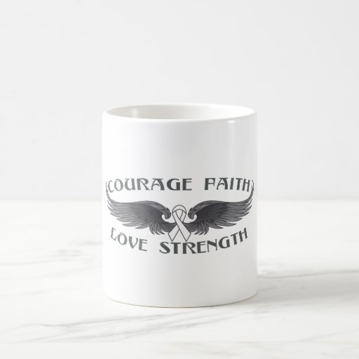 Mesothelioma Courage Faith Wings Mugs