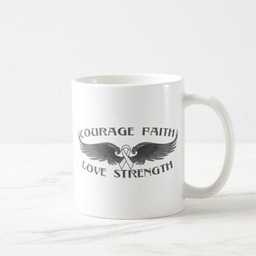 Mesothelioma Courage Faith Wings Mug