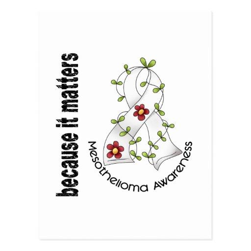 Mesothelioma Flower Ribbon 3 Postcard