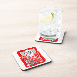 Mesothelioma Hope Butterfly Portrait Drink Coaster