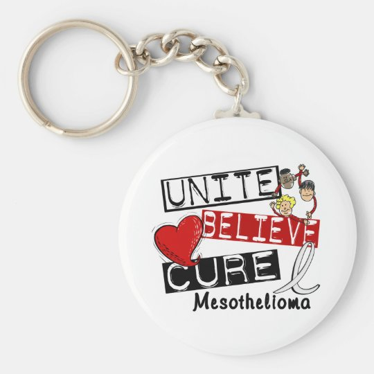 Mesothelioma UNITE BELIEVE CURE Basic Round Button Key Ring