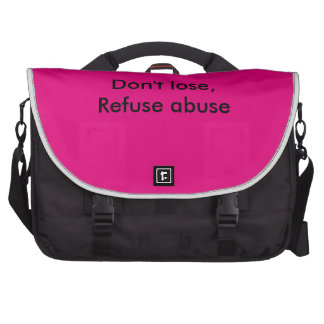 Message against abuse bags for laptop