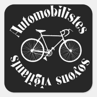 message  cycliste: automoblistes square sticker