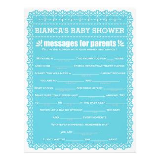 Message for Parents Blue Papel Picado Baby Shower 21.5 Cm X 28 Cm Flyer