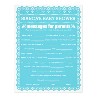 Message for Parents Blue Papel Picado Baby Shower Flyer