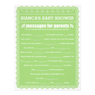 Message for Parents Green Papel Picado Baby Shower 21.5 Cm X 28 Cm Flyer