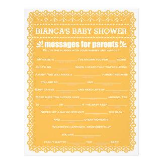 Message for Parents Orange Papel Picado Shower 21.5 Cm X 28 Cm Flyer