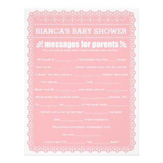 Message for Parents Pink Papel Picado Baby Shower 21.5 Cm X 28 Cm Flyer