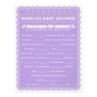 Message for Parents Purple Papel Picado Shower 21.5 Cm X 28 Cm Flyer