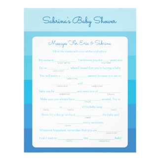 Message for Parents To Be Blue Ombre Baby Shower 21.5 Cm X 28 Cm Flyer