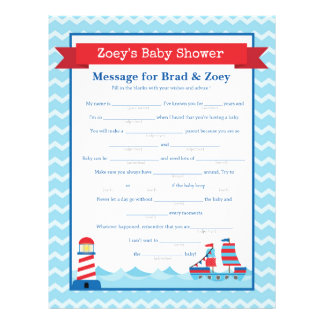 Message for Parents To Be Nautical Baby Shower 21.5 Cm X 28 Cm Flyer