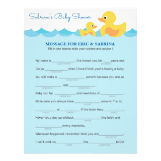 Message for Parents To Be Rubber Duck Baby Shower 21.5 Cm X 28 Cm Flyer