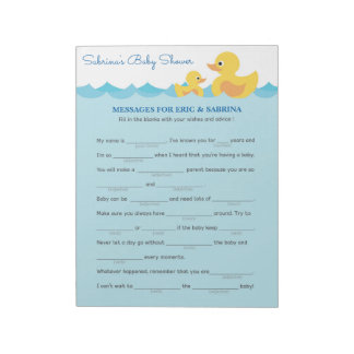 Message for Parents To Be Rubber Duck Baby Shower Notepad