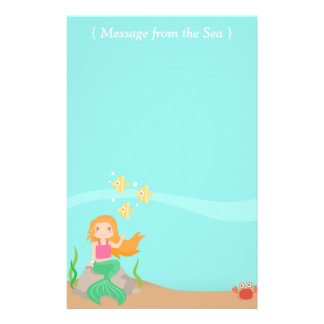 Message from the Sea, Mermaid with Ocean Animals Stationery