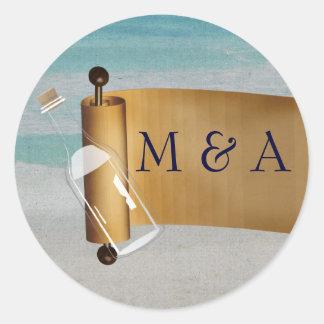 Message in a bottle Beach Wedding Round Sticker