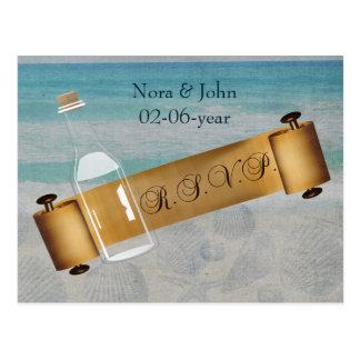 message in a bottle, Beach wedding rsvp Postcard