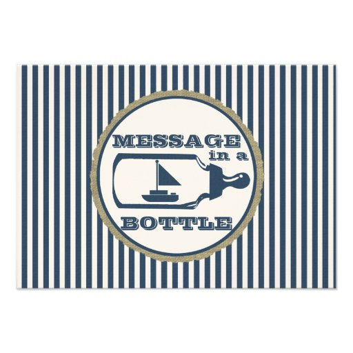 Message in A Bottle Sail boat Baby Shower Personalized Invites
