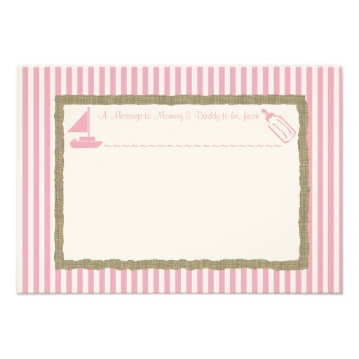 Message in A Bottle Sail boat Baby Shower Pink Custom Invitations