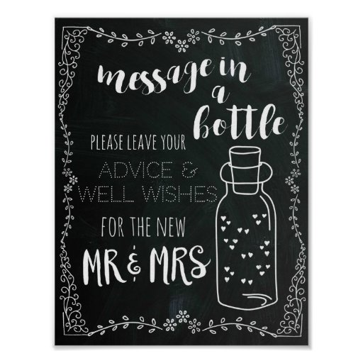 Message in a Bottle Sign Wedding Decor Poster
