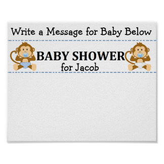 Message Keepsake Monkey Baby Shower Poster