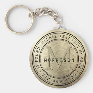 Message - Monogram in Brush Gold Foil Key Ring