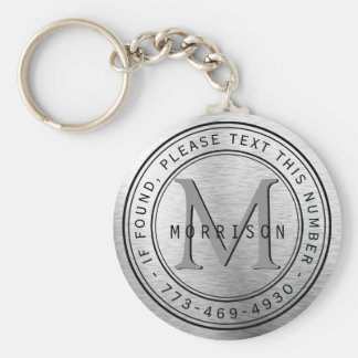 Message - Monogram in Silver Foil Key Ring