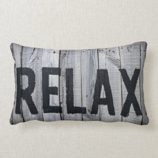 Message RELAX on sun bleached wood Lumbar Cushion