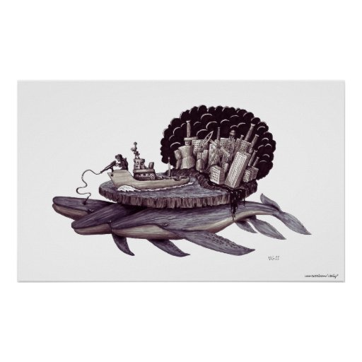 Message to humanity surreal black and white art print