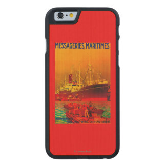 Messageries Maritimes Vintage PosterEurope Carved® Maple iPhone 6 Slim Case