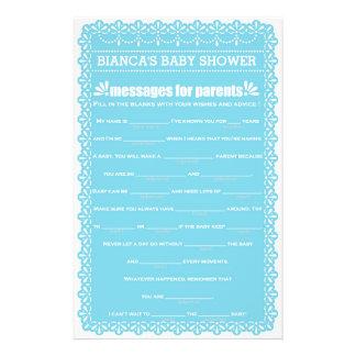 Messages for Parents Blue Papel Picado Baby Shower 14 Cm X 21.5 Cm Flyer