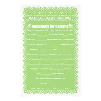 Messages for Parents Green Papel Picado Shower 14 Cm X 21.5 Cm Flyer