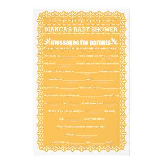Messages for Parents Orange Papel Picado Shower 14 Cm X 21.5 Cm Flyer