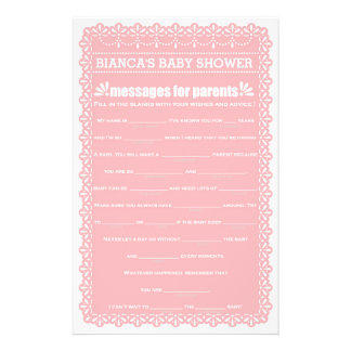 Messages for Parents Pink Papel Picado Baby Shower 14 Cm X 21.5 Cm Flyer