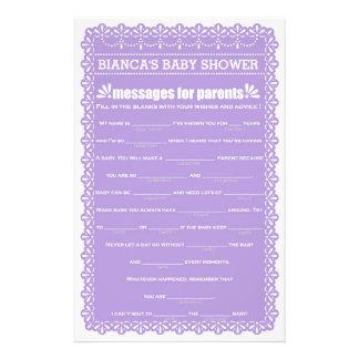 Messages for Parents Purple Papel Picado Shower 14 Cm X 21.5 Cm Flyer
