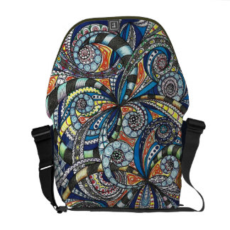 Messenger Bag Drawing floral abstract background