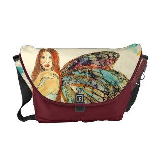 Messenger Bag-Med. Bordeaux Dew Fairy Commuter Bags