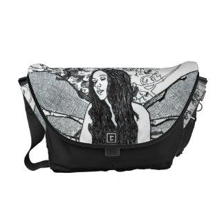 Messenger Bag-MED. Scroll Fairy BLK Messenger Bags