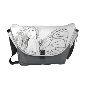 Messenger Bag-Med. Shadow Fairy Charcoal Courier Bag