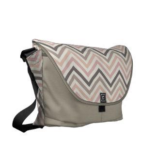 Messenger Bag: Pink & gray chevron pattern Messenger Bags