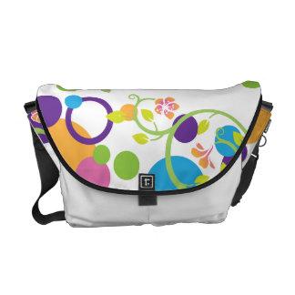 Messenger Bag Polka Dots Swirling Floral