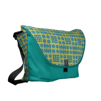 Messenger Bag: Welsh Tapestry Pattern, Bright Blue Commuter Bags
